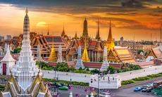 Sunset over Wat Pra Keaw, Bangkok, Thailand
