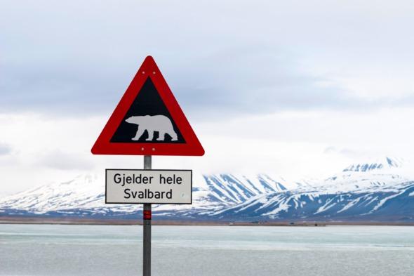 Polar bear warning sign in Svalbard