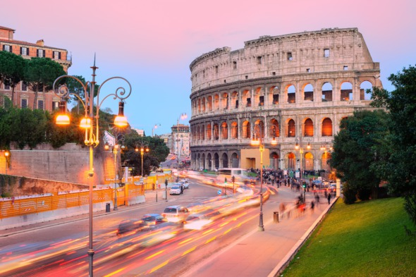 Sunset over the Collosseum in Rome
