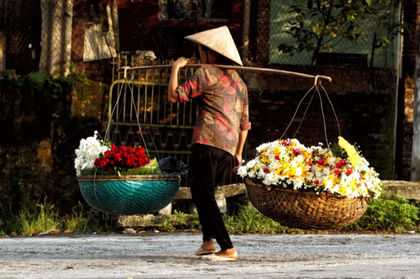Flower vendor in Hanoi, Vietnam