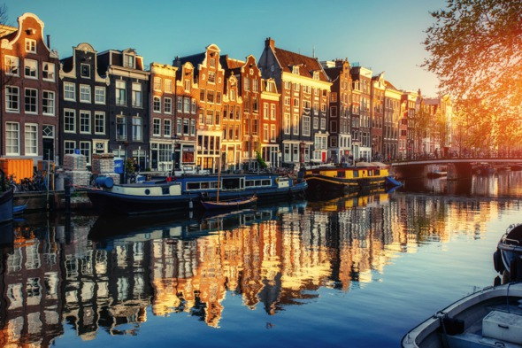 Sunset in Amsterdam, Netherlands