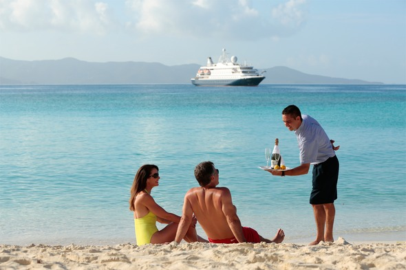 On the beach with SeaDream, one of our favourite types of cruise holiday