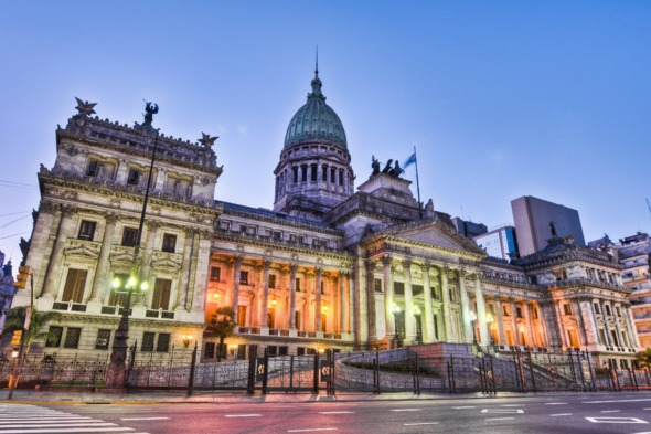 Congreso at sunset, Buenos Aires