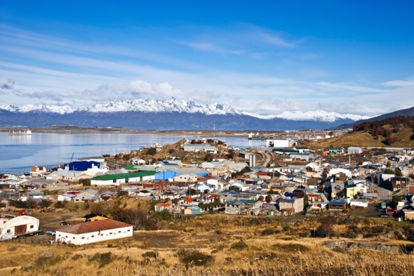 Aerial view of Ushuaia, Argentina