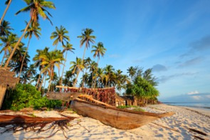 Dhow on the beach in Zanzibar, Tanzania