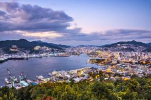 Aerial view of Nagasaki, Japan