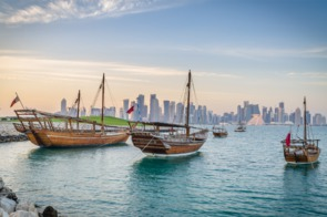 Dhows moored in Doha, Qatar