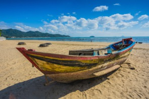 Fishing boat on the beach in Nha Trang, Vietnam