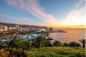 Sunset over Santa Cruz de Tenerife, Spain