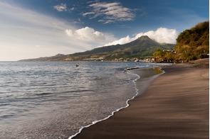 Black sand beach in Saint Pierre, Martinique