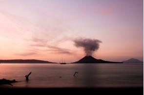 Sunset over Anak Krakatau, Indonesia