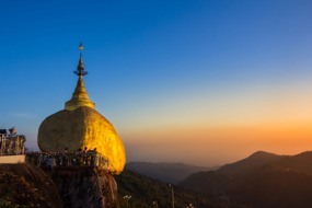 Myanmar cruises - Golden Rock at dusk