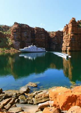 Small ship cruising on True North in the Kimberley Region, Australia