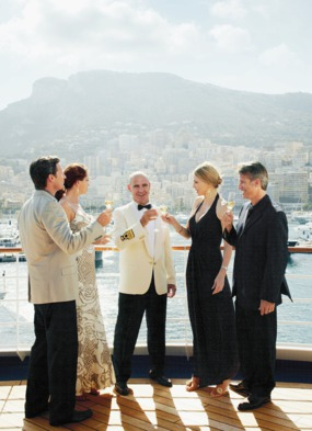 Silversea guests in formal wear, one of the many cruise ship dress codes