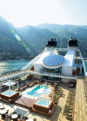 Pool deck on a Seabourn luxury cruise ship