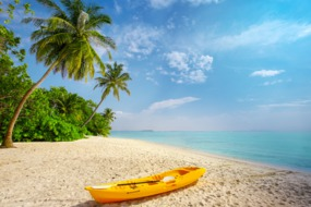 Kayak on the beach in the Maldives