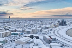 Aerial view of Reykjavik in winter