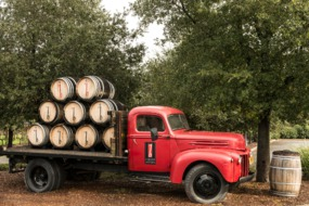 Truck carrying wine barrels in the Napa Valley, California