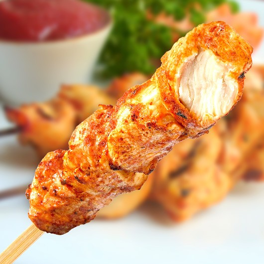 Ready To Eat Spicy Chicken On A Stick