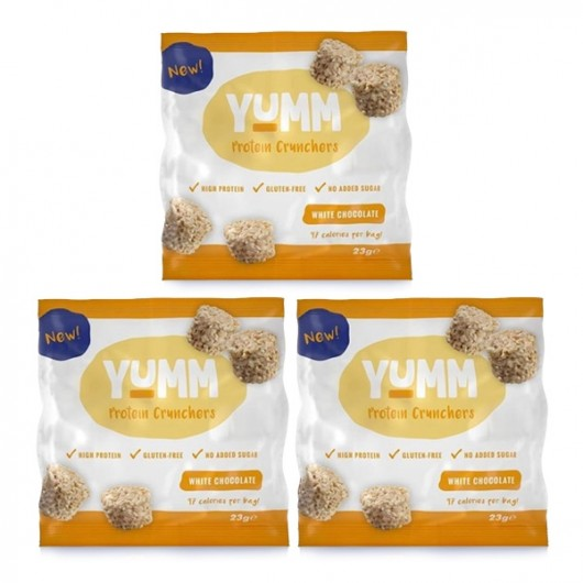 YUMM High Protein White Choc Crunchers - 3 x 23g