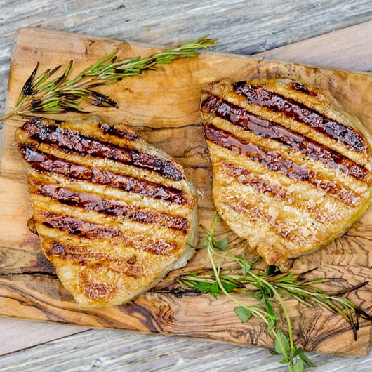 2 x 6-7oz Low Fat Smoked Bacon Steaks (Meat)