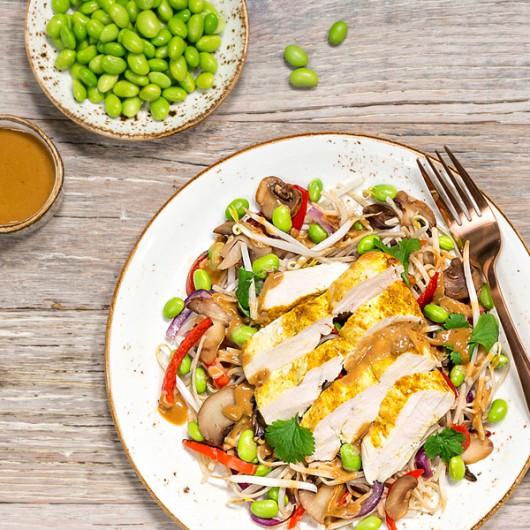 Oriental Chicken Pad Thai With Rainbow Vegetables