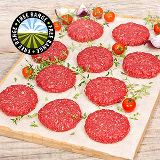 10 x 4oz Free Range Rump Steak Burgers