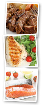 Beef Salmon and Chicken