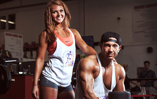 Jordan Saunders and fiance Ryan in the gym