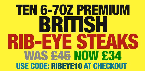 10 x 6-7oz Premium British Rib-Eye Steaks
