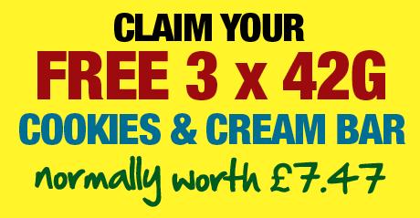 Claim Your FREE 3 x 42g Cookies & Cream Bar