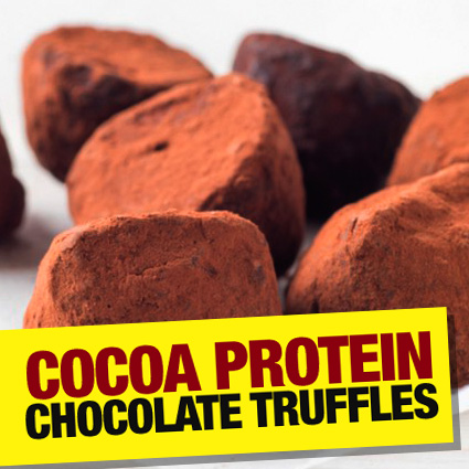 Cocoa dusted protein chocolate truffles