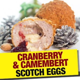 Surprise and satisfy your festive guests with our STUNNING Cranberry & Camembert Scotch eggs!