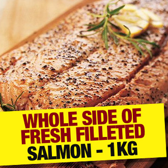 Whole Side of Fresh Filleted Salmon - 1kg