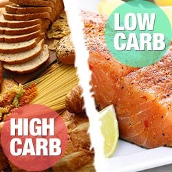 High carb and low carb foods