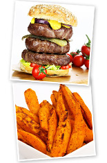 Extra lean burger and Sweet potato fries