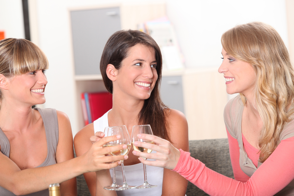 Women enjoying wine