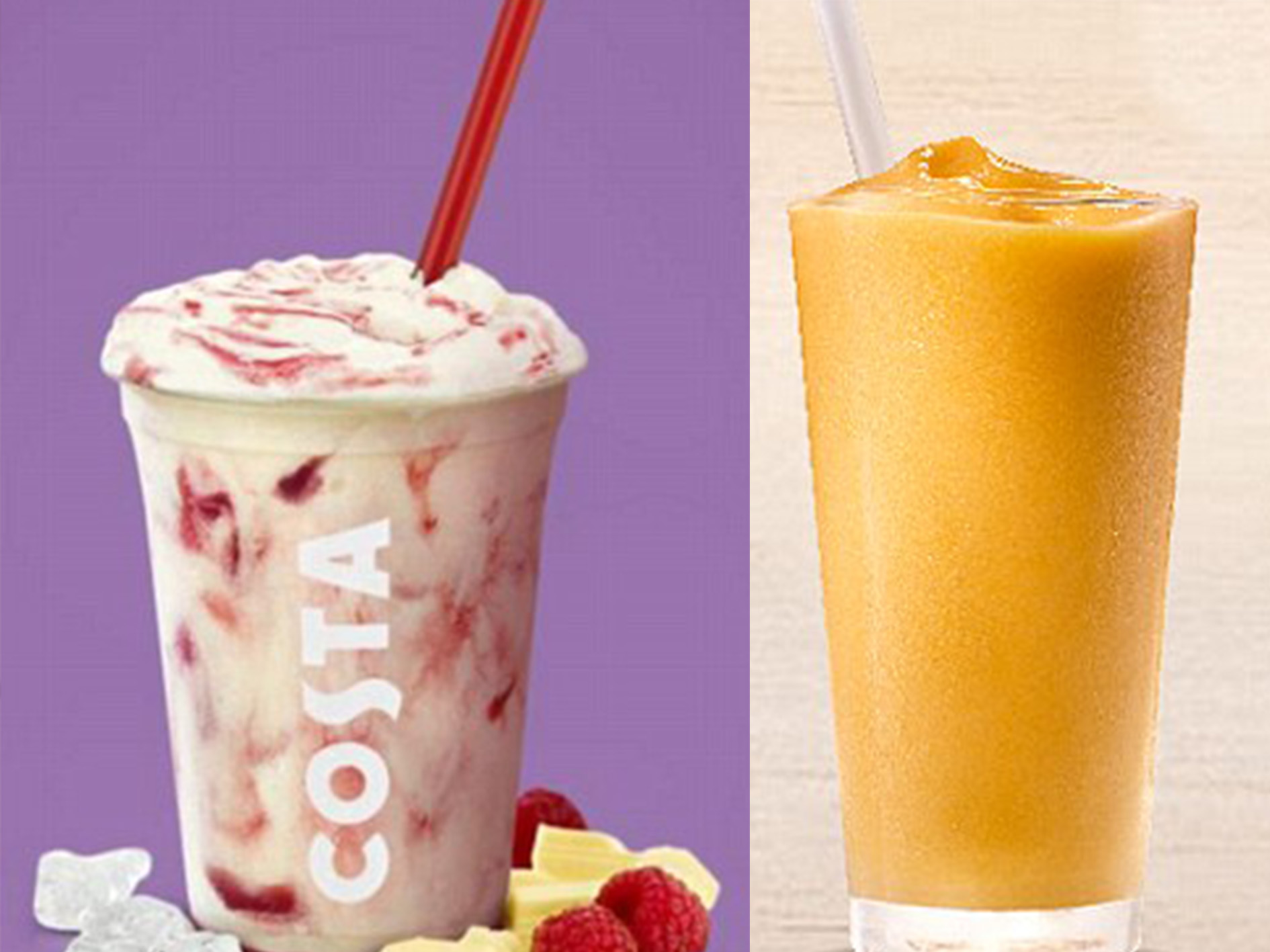 Costa White Chocolate Creamy Cooler and Burger King Tropical Mango Smoothie