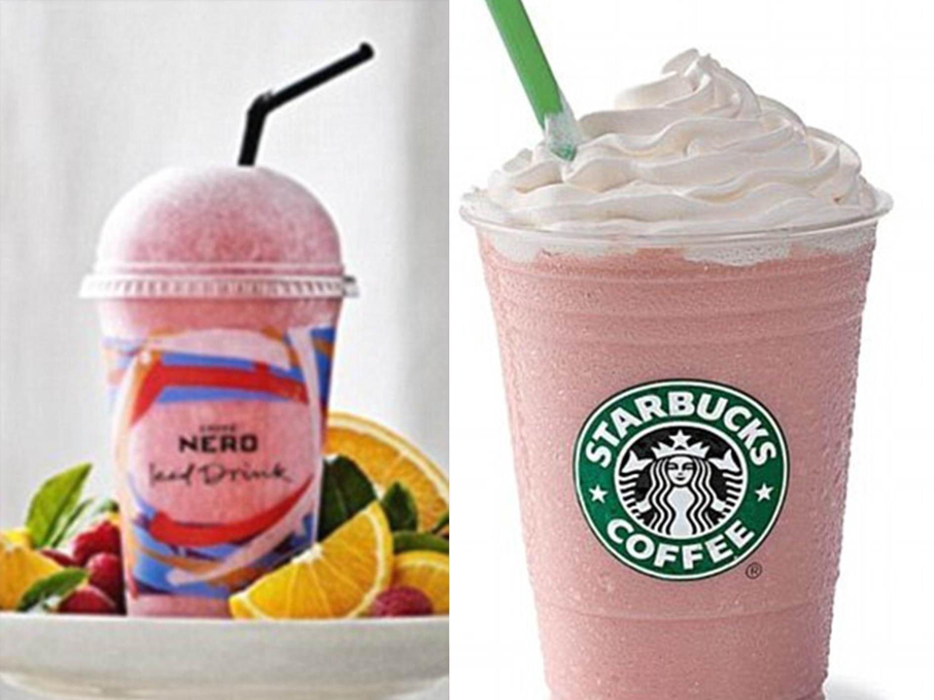 Caffe Nero Raspberry and Orange Fruit Booser and Starbucks Strawberies and Cream Frappuccino