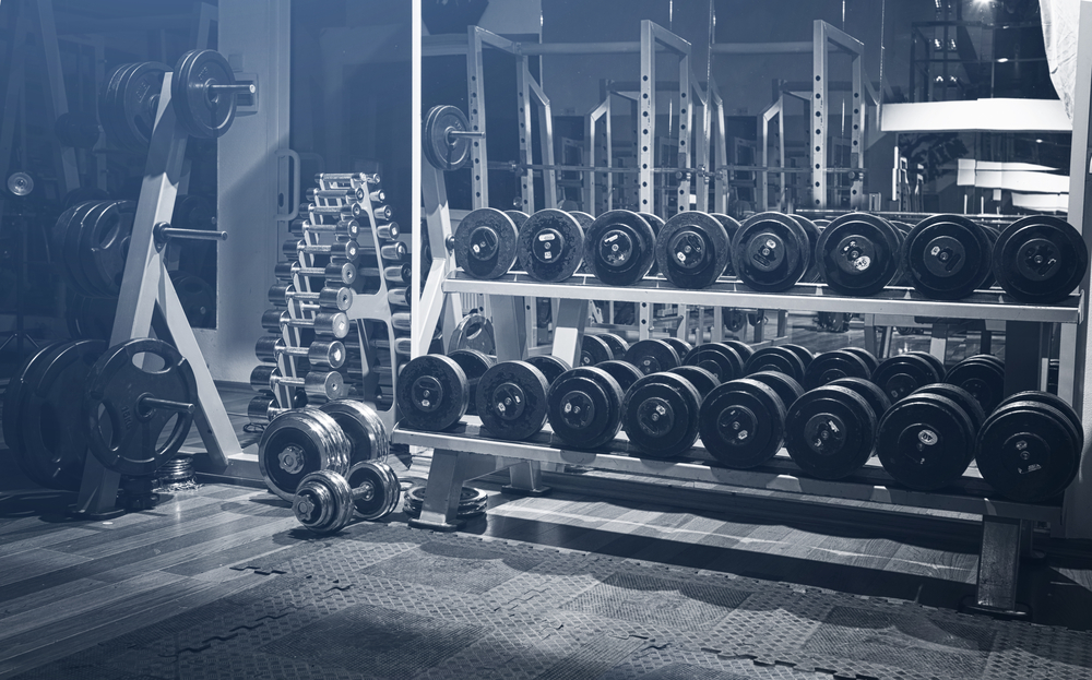 rack of free weights