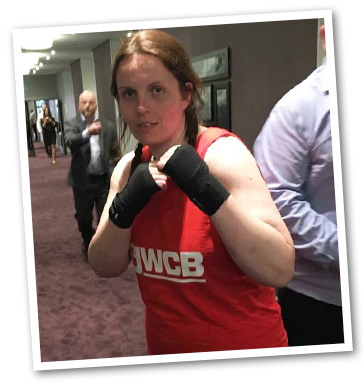 kathryn before a boxing match