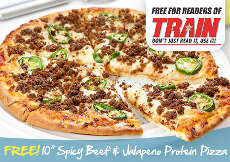Claim your FREE 10 Inch Spicy Beef & Jalapeno Protein Pizza
