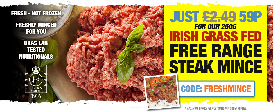 Irish Grass Fed Free Range Steak Mince - Just 59p