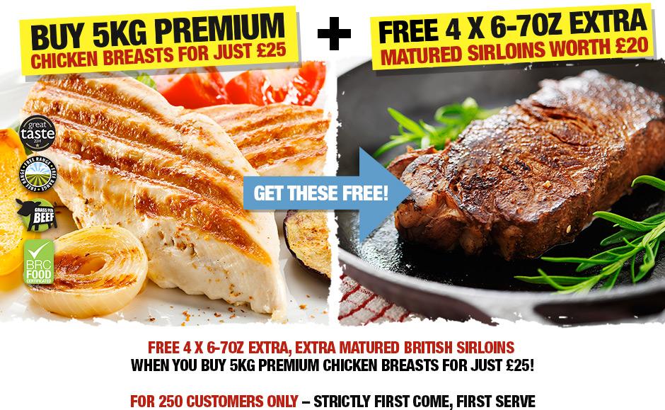 Free 4x6-7oz Extra Matured British Sirloin Steaks