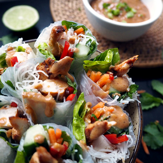 Mango & Chilli Chicken (Mini fillets) Summer Rolls with Peanut Dipping sauce