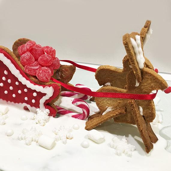 Protein Gingerbread Sleigh & Reindeer
