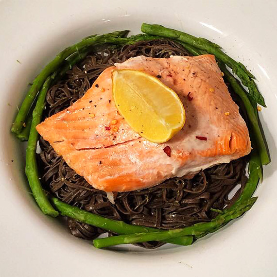 Salmon and Black Bean Noodles