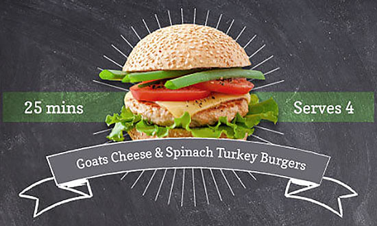Goats Cheese & Spinach Turkey Burgers