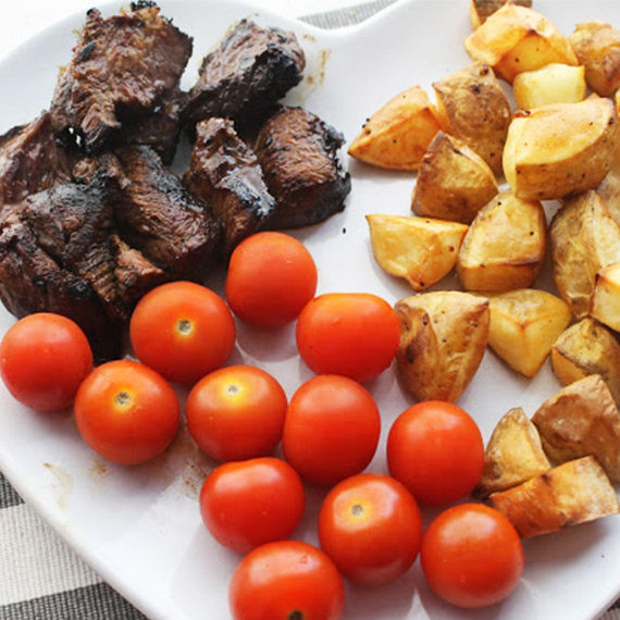 Sticky Steak and Potatoes