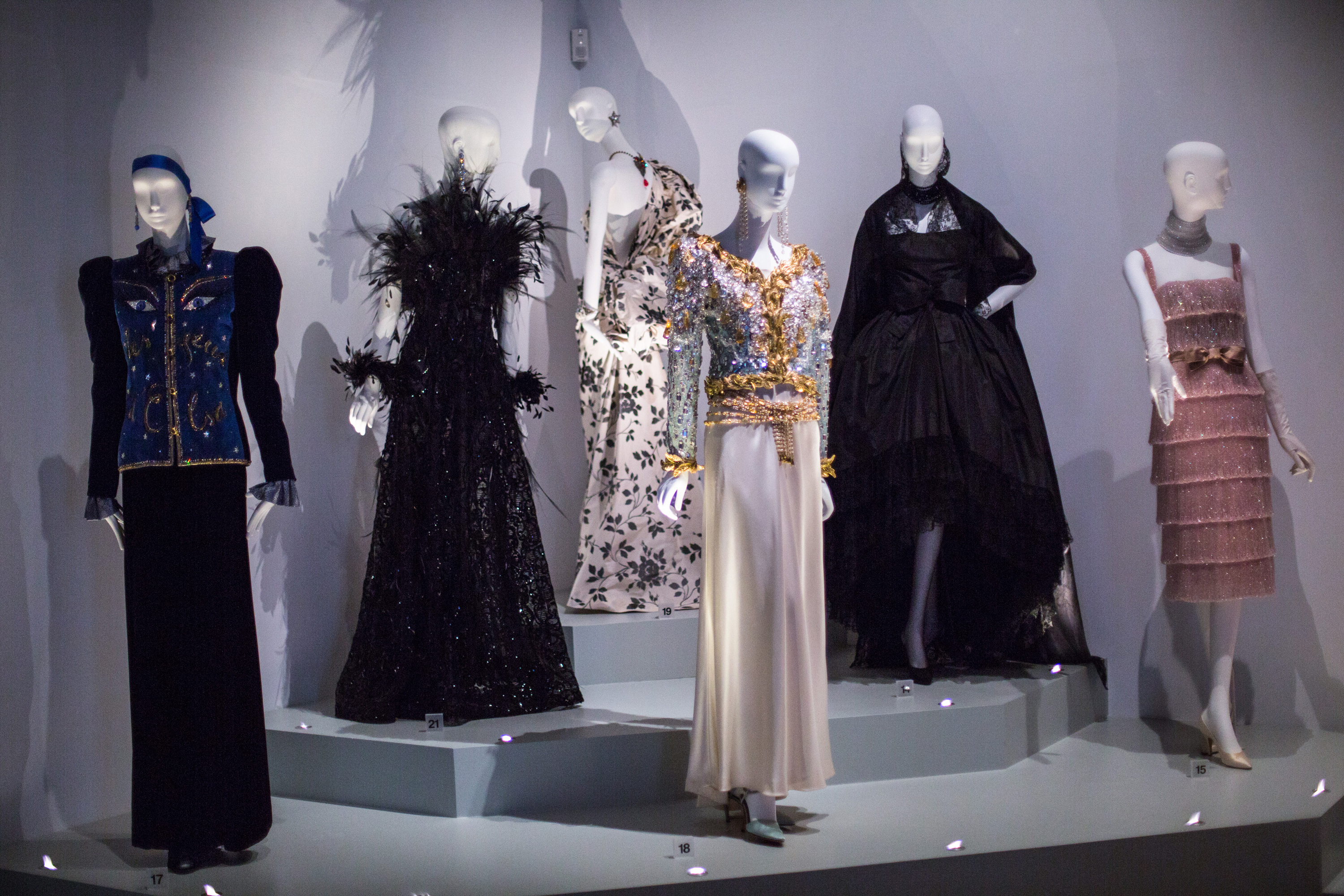 Yves Saint Laurent, Style is Eternal exhibition display at the Bowes Museum  in Durham